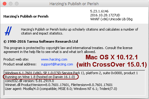 Publish or Perish 5 About box on Mac OS X