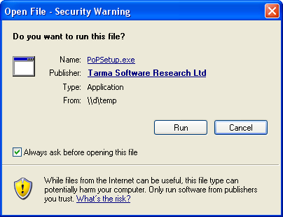 Windows XP security warning