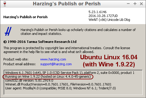 Publish or Perish 5 About box on Ubuntu Linux