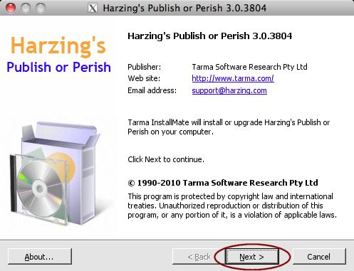 Publish or Perish using CrossOver Mac 9 x or earlier